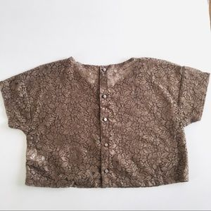 H&M Tops - H&M Boxy Crop Sheer Lace Floral Top Size Small